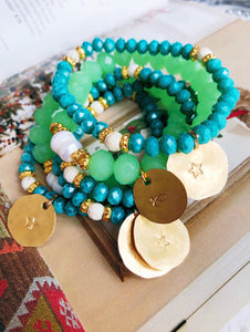 Stack of 6 - Aqua and pearls