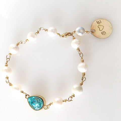 Personalized pearls and blue topaz Jackie bracelet