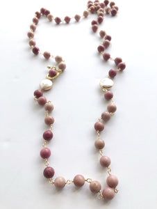 Pink Blush natural gemstones and Coin pearls, Long Necklace