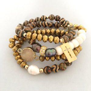 Gold dipped Hematite and African beads stack