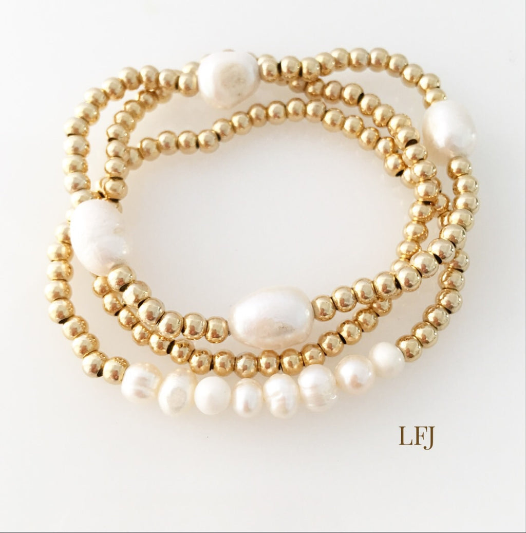 Gold bracelet trio skinny beads and pearls
