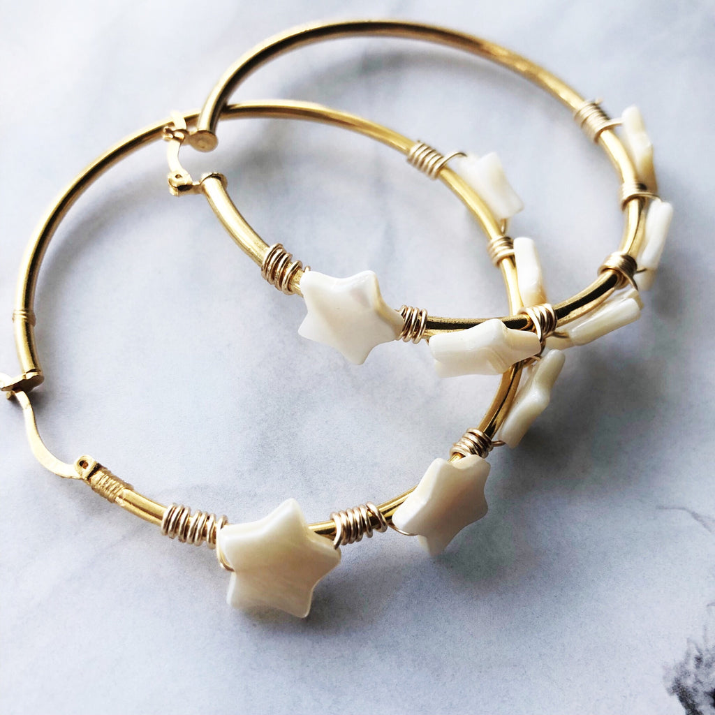 Constalation gold hoops
