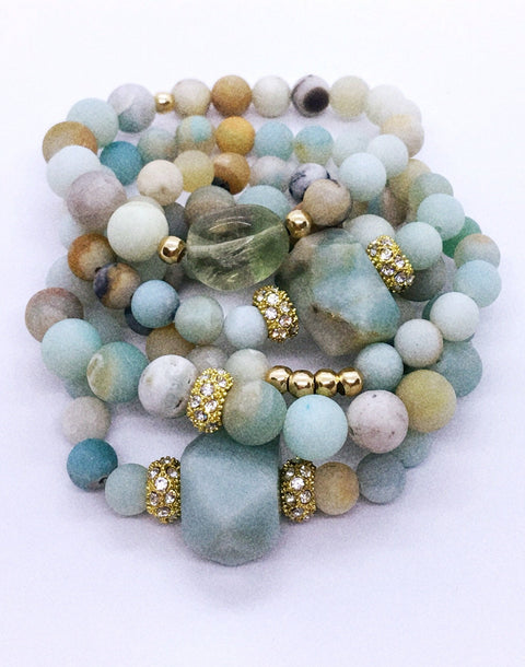Amazonite and gold stack