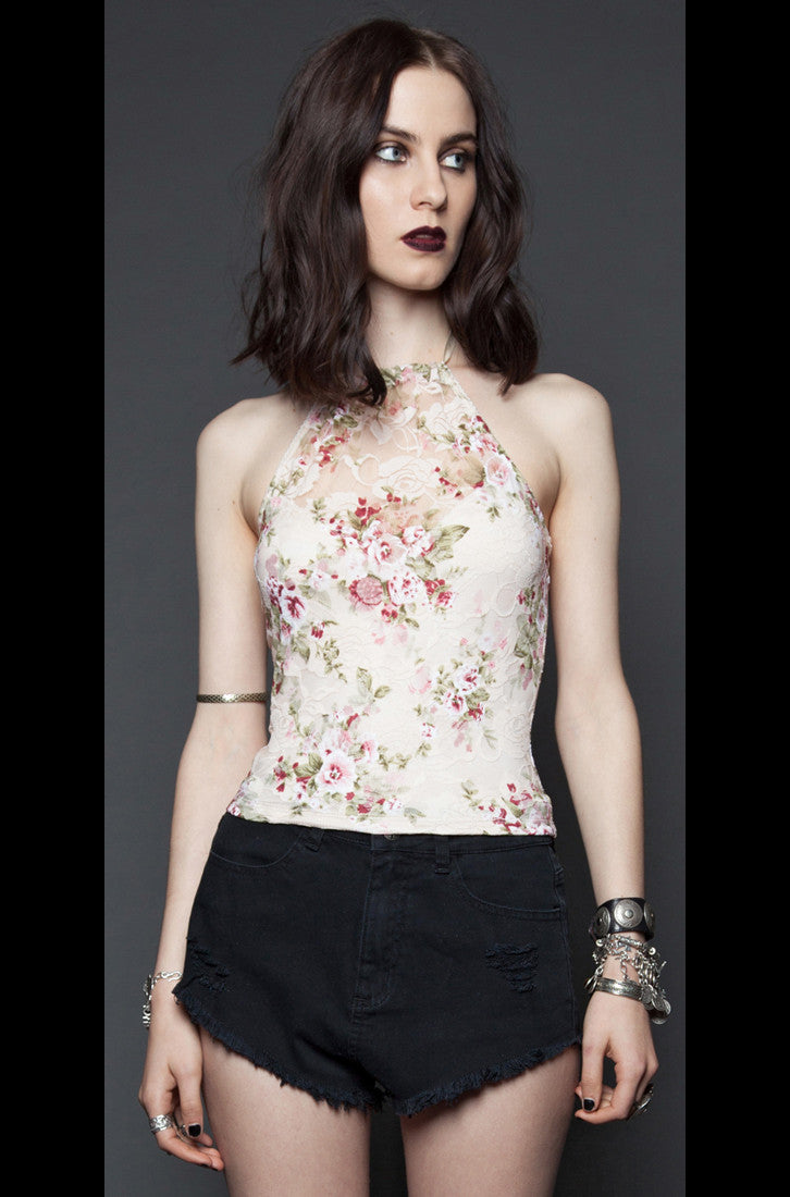LIPSERVICE - PETER PAUL AND BLOODY MARY'S IVORY FLORAL LACE HALTER - FETISH
