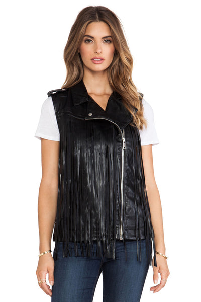 BLANK NYC - VEGAN LEATHER FRINGE VEST - FETISH