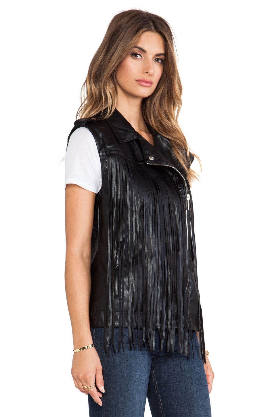 VEGAN LEATHER FRINGE VEST