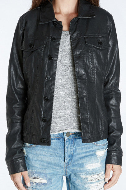 VEGAN LEATHER TRUCKER JACKET