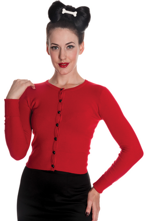 Hell Bunny - PALOMA CARDIGAN IN RED & BLACK - FETISH