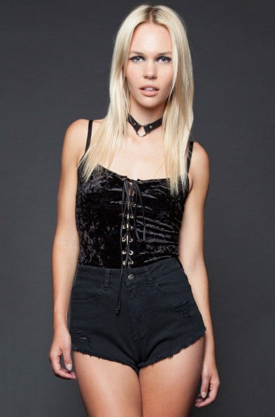 LIPSERVICE - KISS ME CRUSHED VELVET LACE UP CAMI (2 COLORS AVAILABLE) - FETISH
