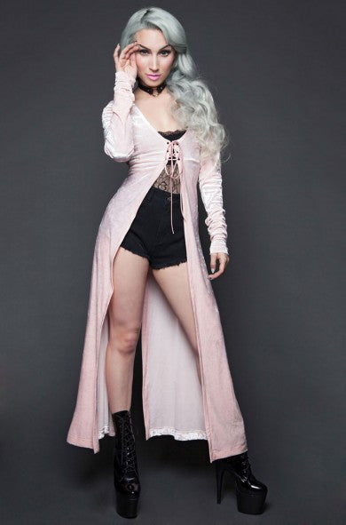 LIPSERVICE - HUNGRY EYES CRUSHED VELVET LACE UP DUSTER IN BABY PINK - FETISH