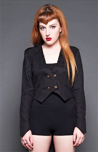 LIPSERVICE - SIDESHOW RINGMASTER JACKET IN BLACK - FETISH