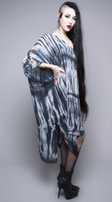 HOUSE OF WIDOW - MY DYING BRIDE CHIFFON CAFTAN IN BLACK/WHITE - FETISH