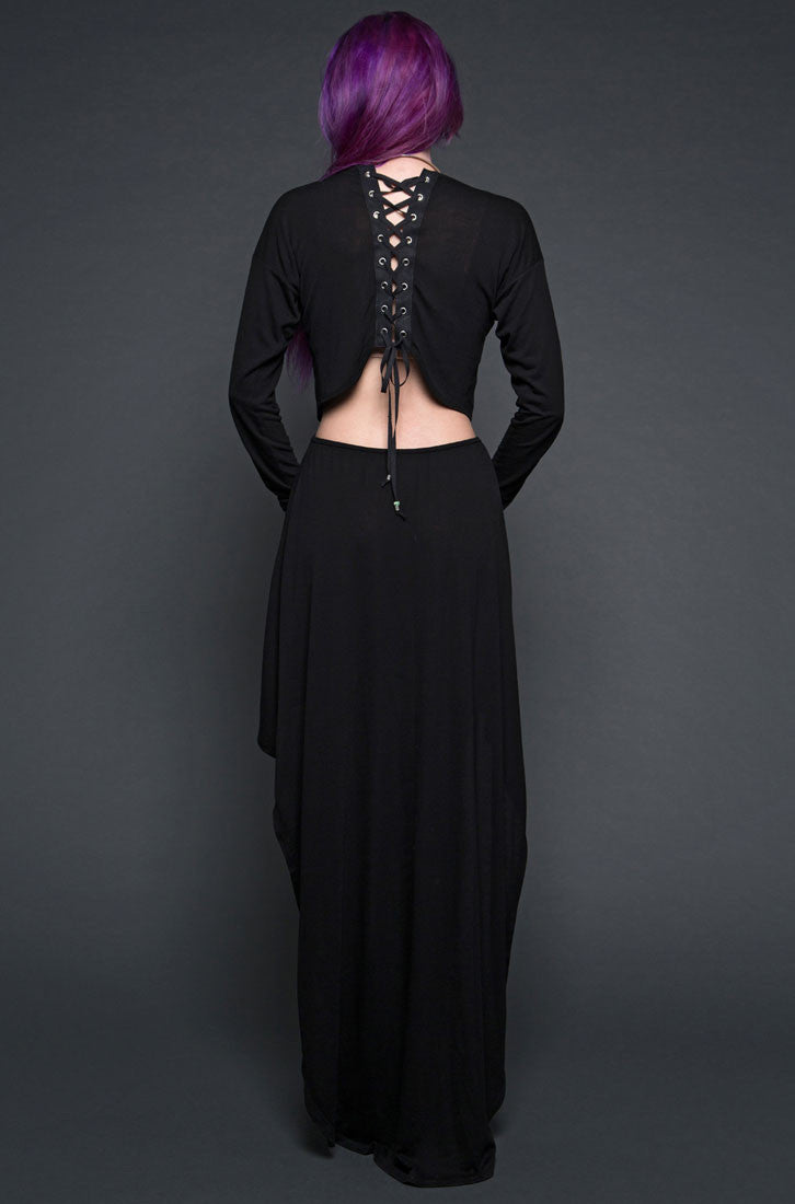 GHOST DANCER DRESS WITH LACE UP BACK AND BEAD DETAIL IN BLACK