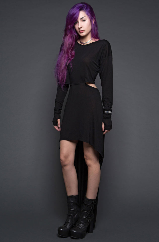 LIPSERVICE - GHOST DANCER DRESS WITH LACE UP BACK AND BEAD DETAIL IN BLACK - FETISH