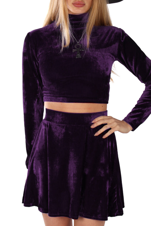 VELVET TURTLENECK CROP TOP IN AMETHYST