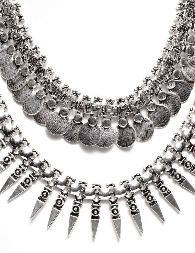 FETISH - COIN & SPIKED FRINGE CHOKER - FETISH