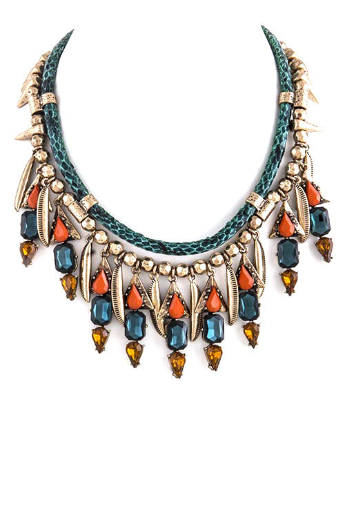 FETISH - ANTIQUE FAUX JEWEL CHARM BIB NECKLACE - FETISH