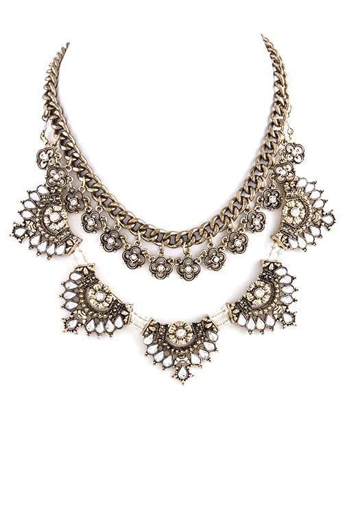 FETISH - ANTIQUE FLORAL FAUX GEM LINK TIERED NECKLACE - FETISH
