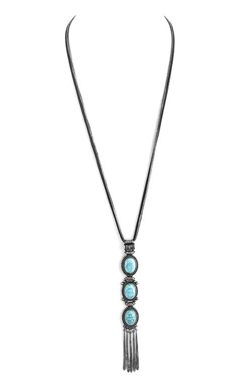 FETISH - ANTIQUE FRAMED SEMI PRECIOUS STONE LINK LONG NECKLACE - FETISH