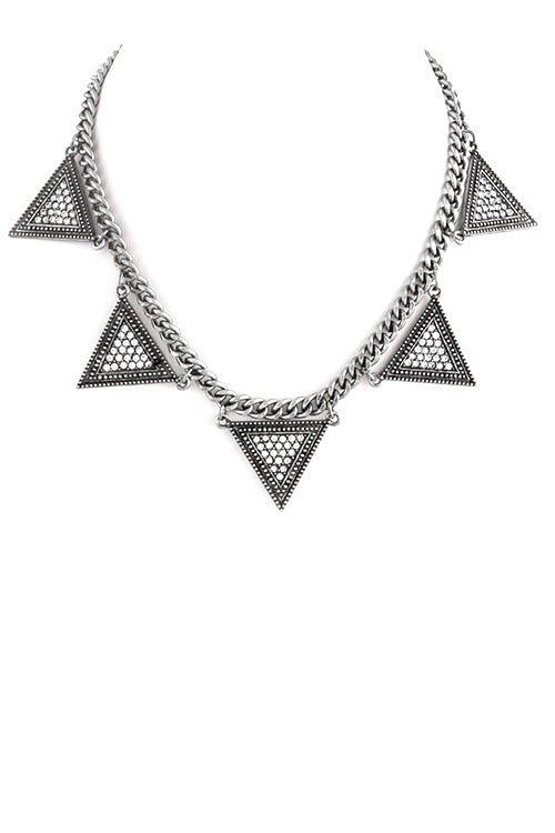 FETISH - ANTIQUE METAL BEADED CRYSTAL TRIANGLE LINK NECKLACE - FETISH