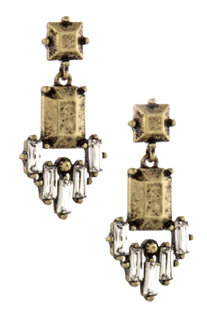 ANTIQUE RECTANGLE CRYSTAL LINK EARRINGS GOLD