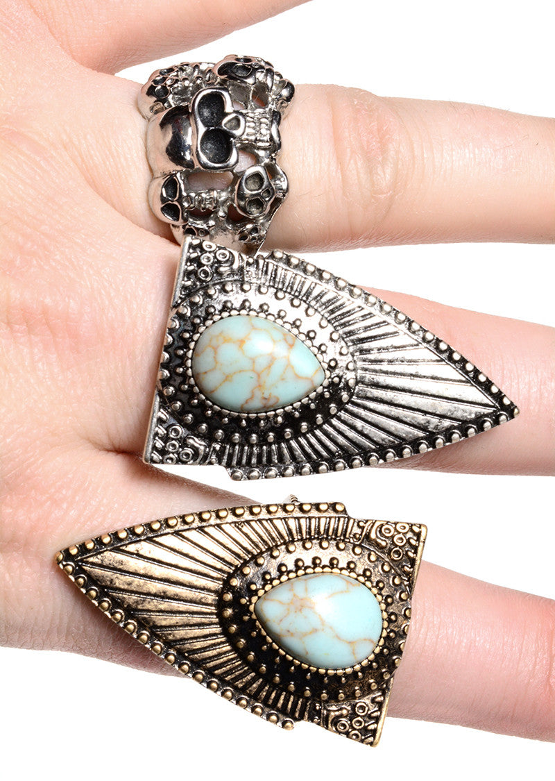FETISH - FAUX TURQUOISE ARROWHEAD RING (2 COLORS AVAILABLE) - FETISH