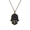 BLACK HAMSA PENDANT NECKLACE