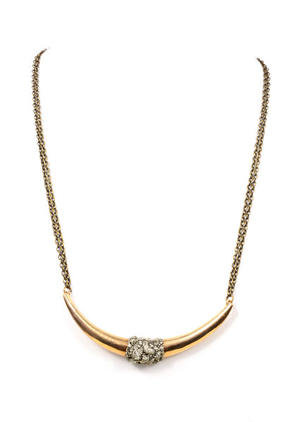 BRASS CRESCENT BAR DOUBLE CHAIN NECKLACE