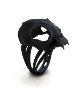 THE ROGUE + THE WOLF - CAT SKULL RING IN BLACK - FETISH