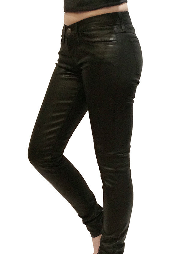 FLYING MONKEY - COATED BLACK 5 POCKET SKINNIES - FETISH