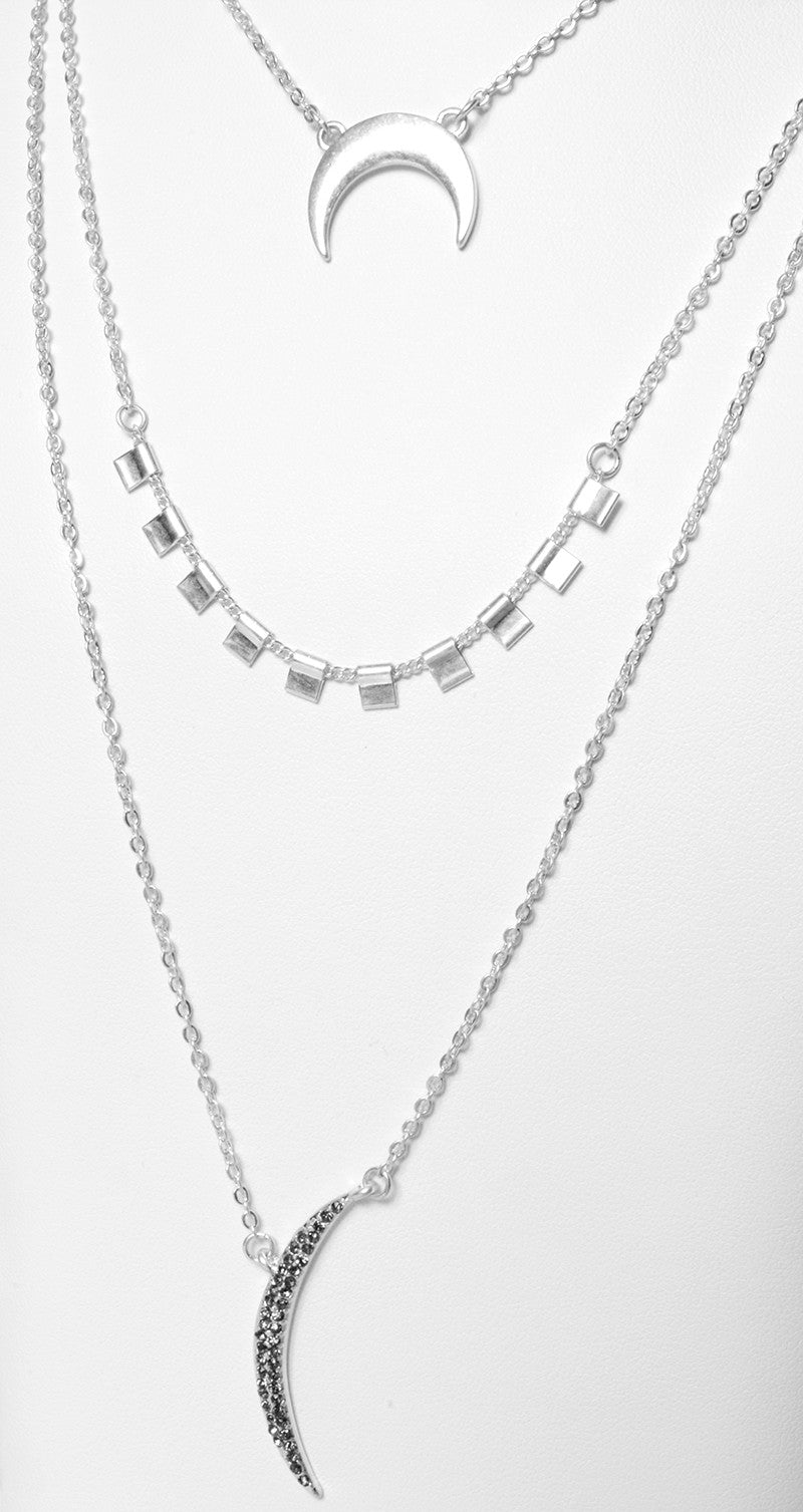THREE LAYER MOON NECKLACE