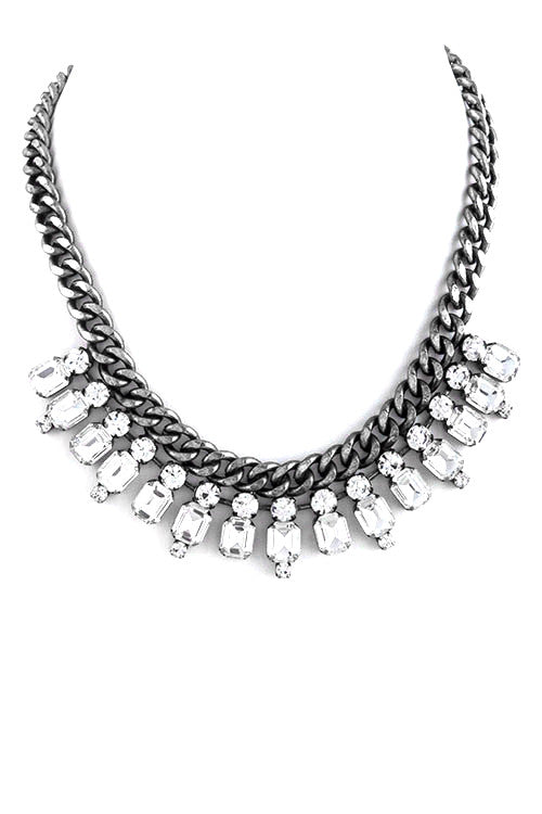 FETISH - CRYSTAL LINED CHAIN NECKLACE SILVER - FETISH