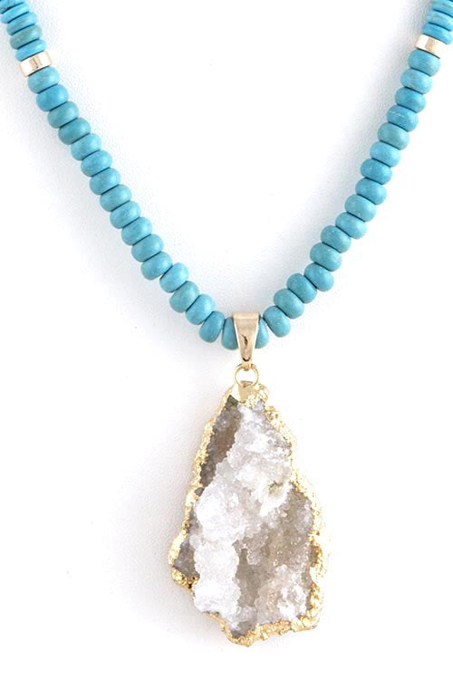 FETISH - DRUZY GEODE STONE PENDANT BEAD NECKLACE - FETISH