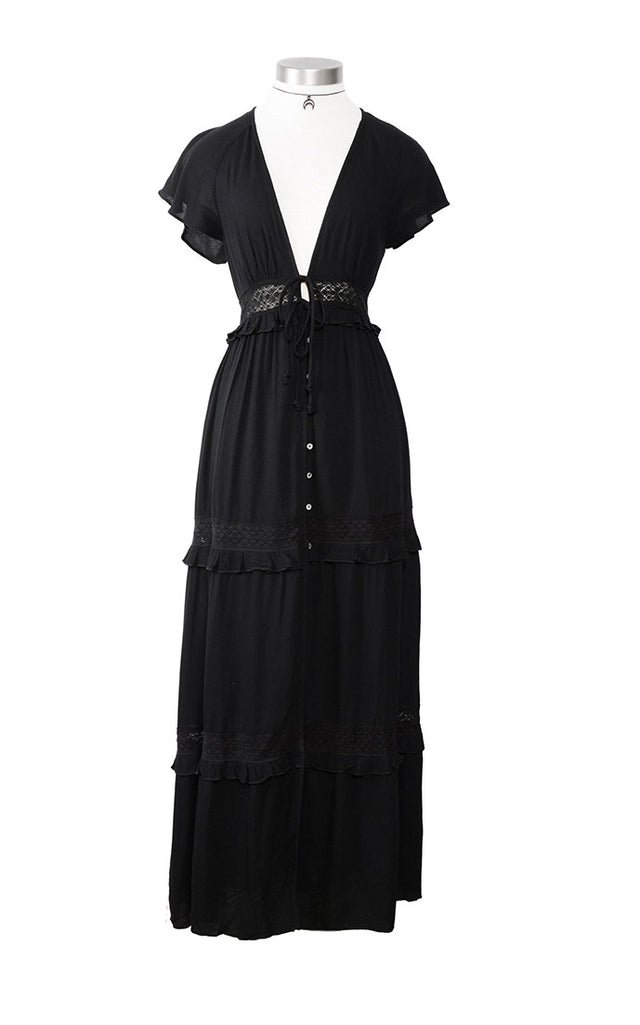 Button Front Peasant Style Maxi Dress