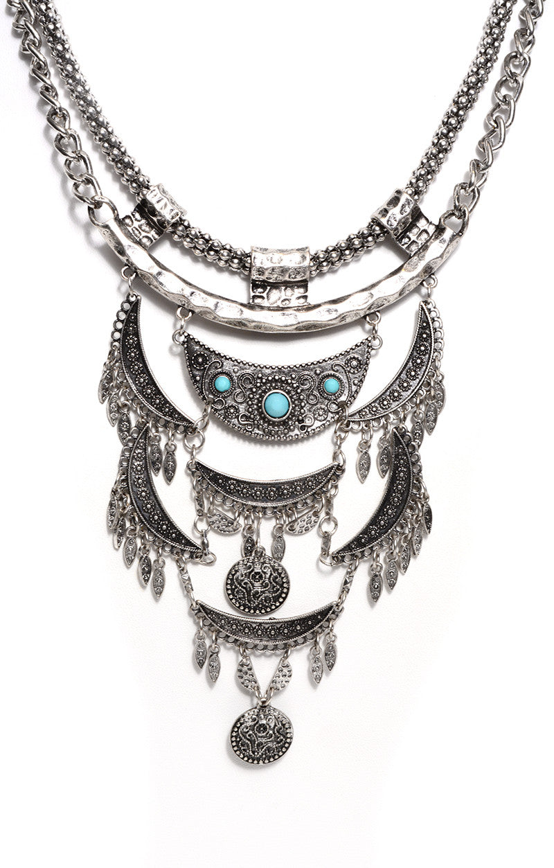 FETISH - MYSTIC FRINGE NECKLACE WITH CHAIN & TURQUOISE - FETISH