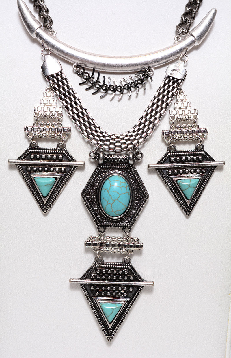 TRIBAL TRIANGLE & TURQUOISE NECKLACE