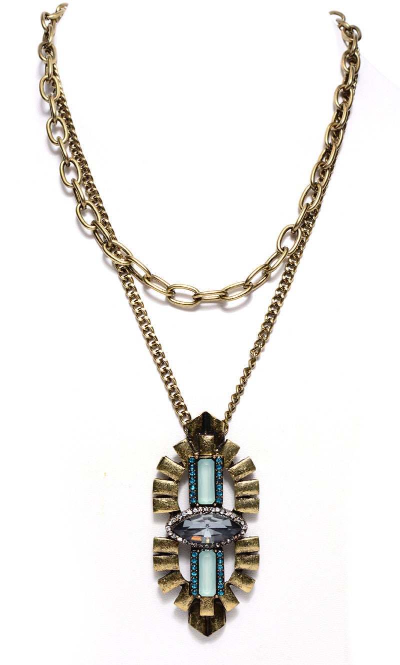 FETISH - DOUBLE CHAIN STONE NECKLACE - FETISH