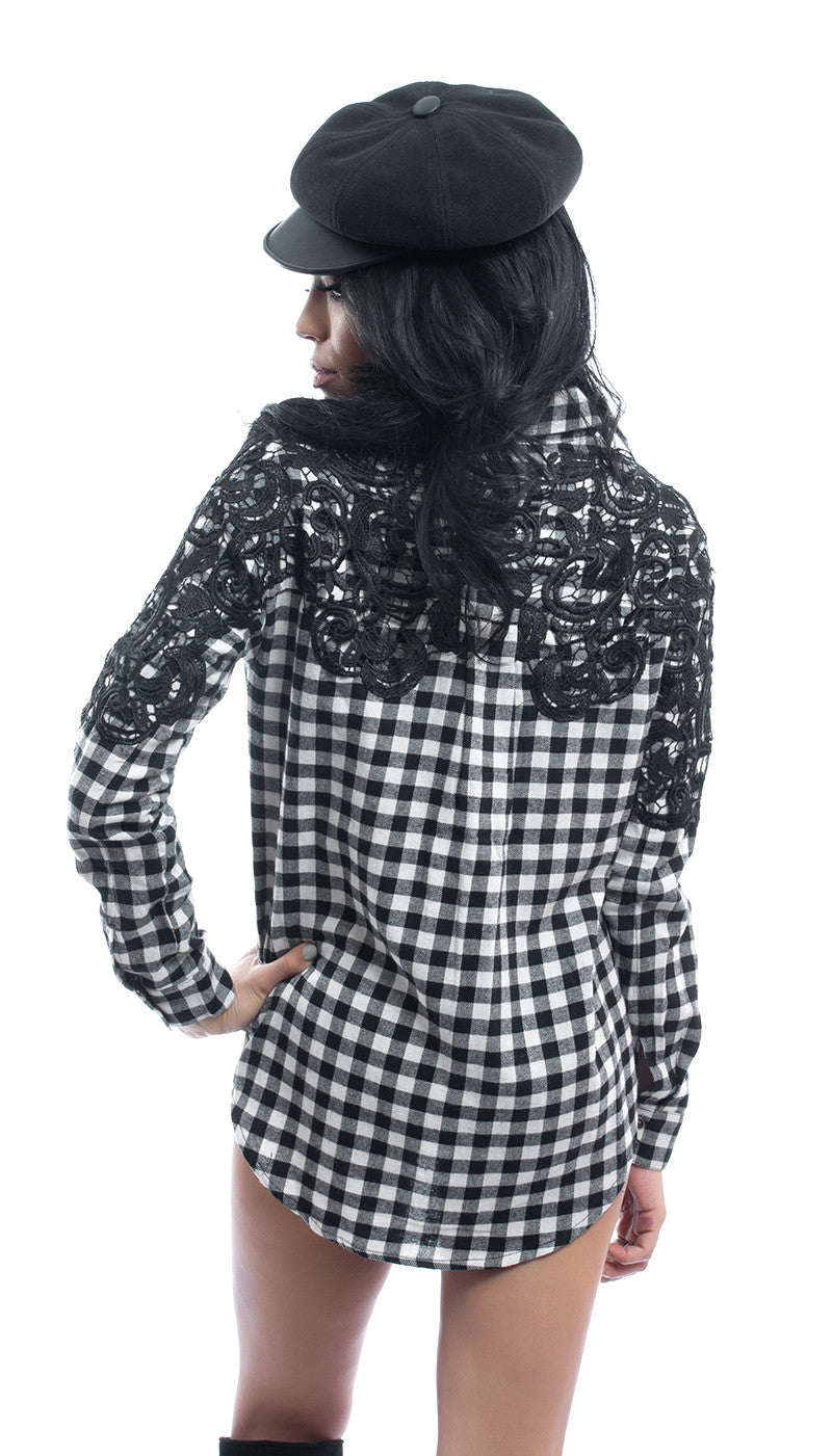 BLACK CHECK TUNIC WITH LACE