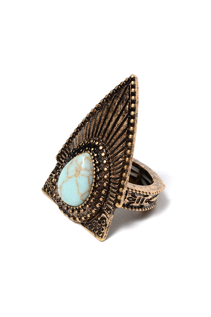 FAUX TURQUOISE ARROWHEAD RING (2 COLORS AVAILABLE)