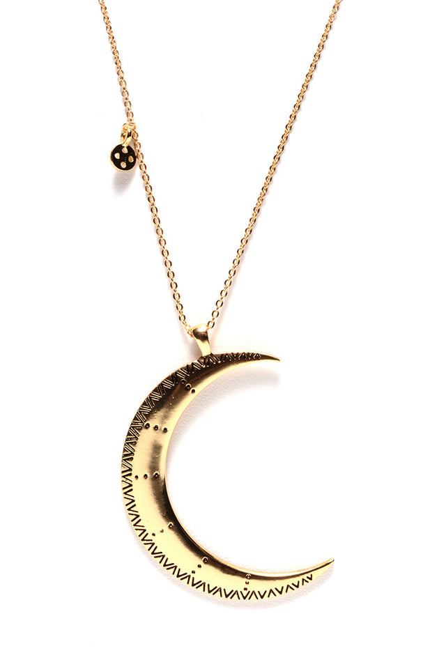 LONG CRESCENT MOON PENDANT (2 COLORS AVAILABLE)