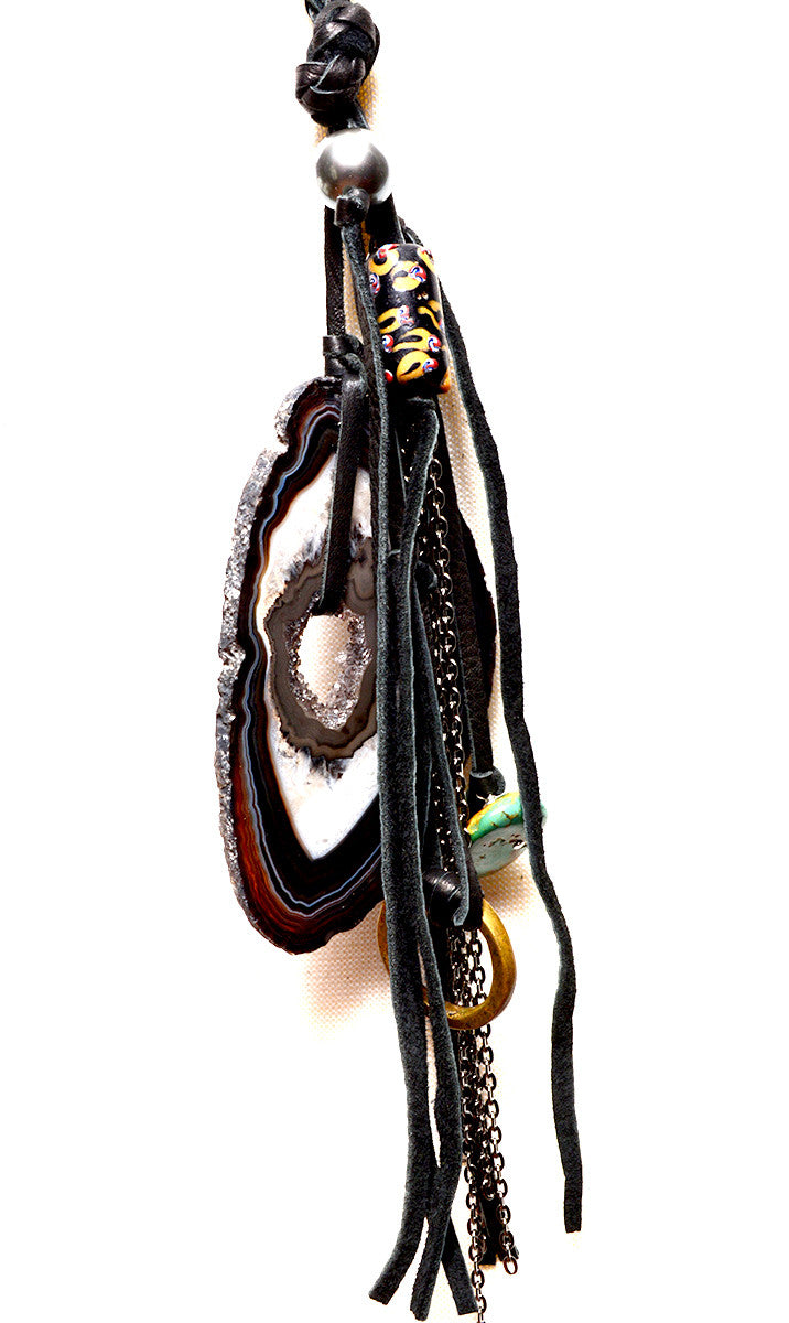 STONE FRINGE BRAIDED LEATHER NECKLACE IN BLACK