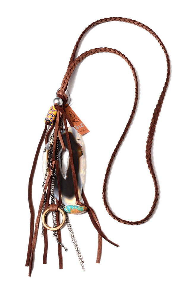 BUJU JEWELRY - STONE FRINGE BRAIDED LEATHER NECKLACE IN MOCHA - FETISH