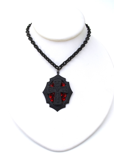 GASOLINE GLAMOUR - FLAT BLACK DRUNK CROSS MINI NECKLACE - FETISH