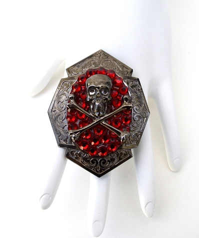 GASOLINE GLAMOUR - FLAT BLACK SKULL & BONES RING - FETISH