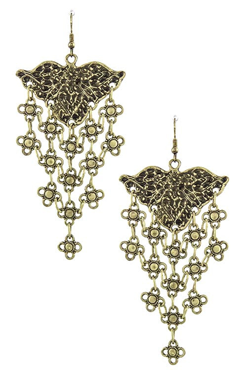 FETISH - FLORAL LINK FRINGE EARRINGS - FETISH