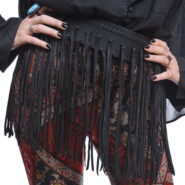 LEATHER FRINGE WAIST BELT