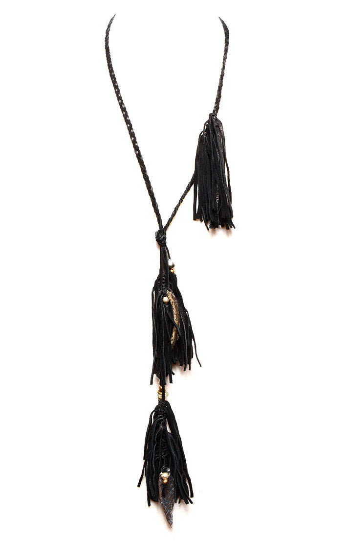 BUJU JEWELRY - FRINGY BRAIDED LEATHER ARROWHEAD NECKLACE - FETISH