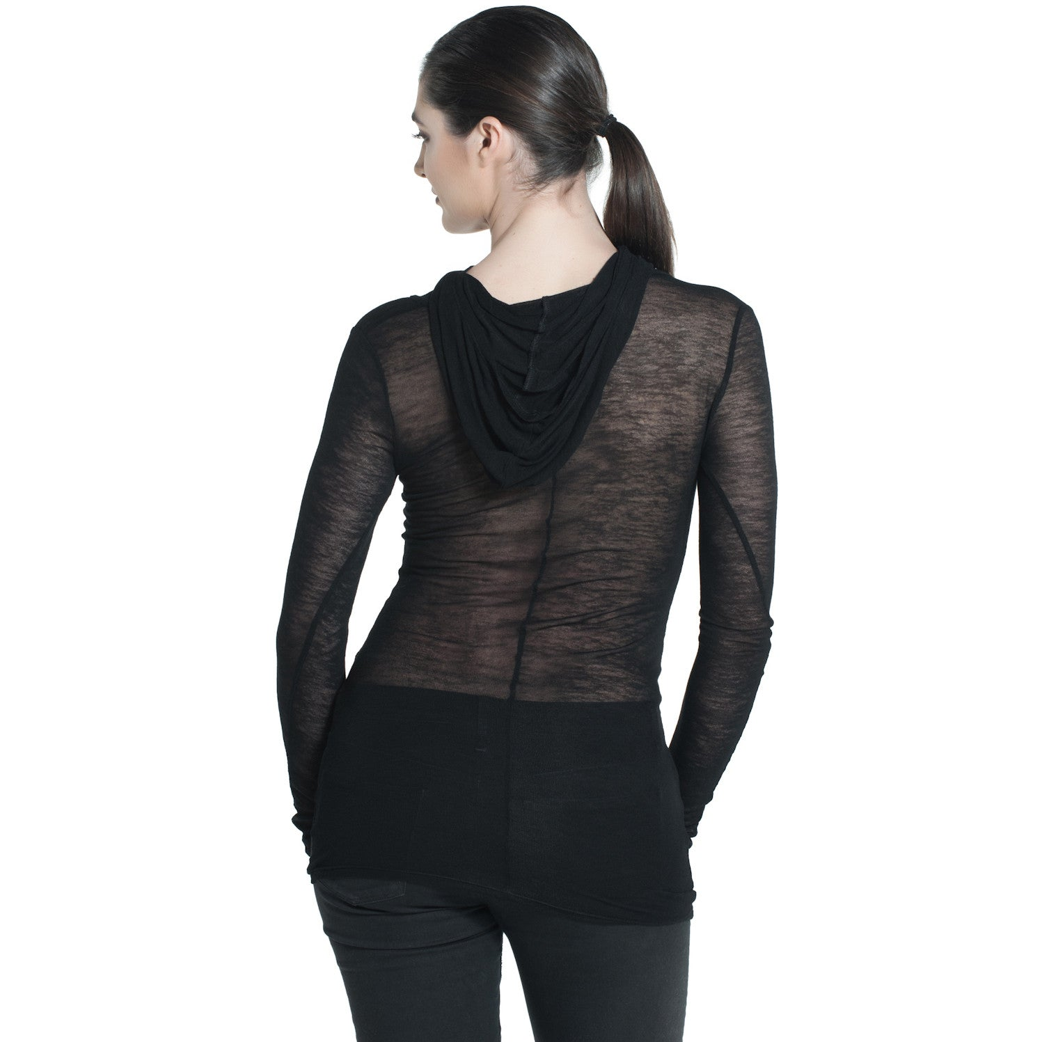 SHEER HOODED LONG SLEEVE TOP IN BLACK