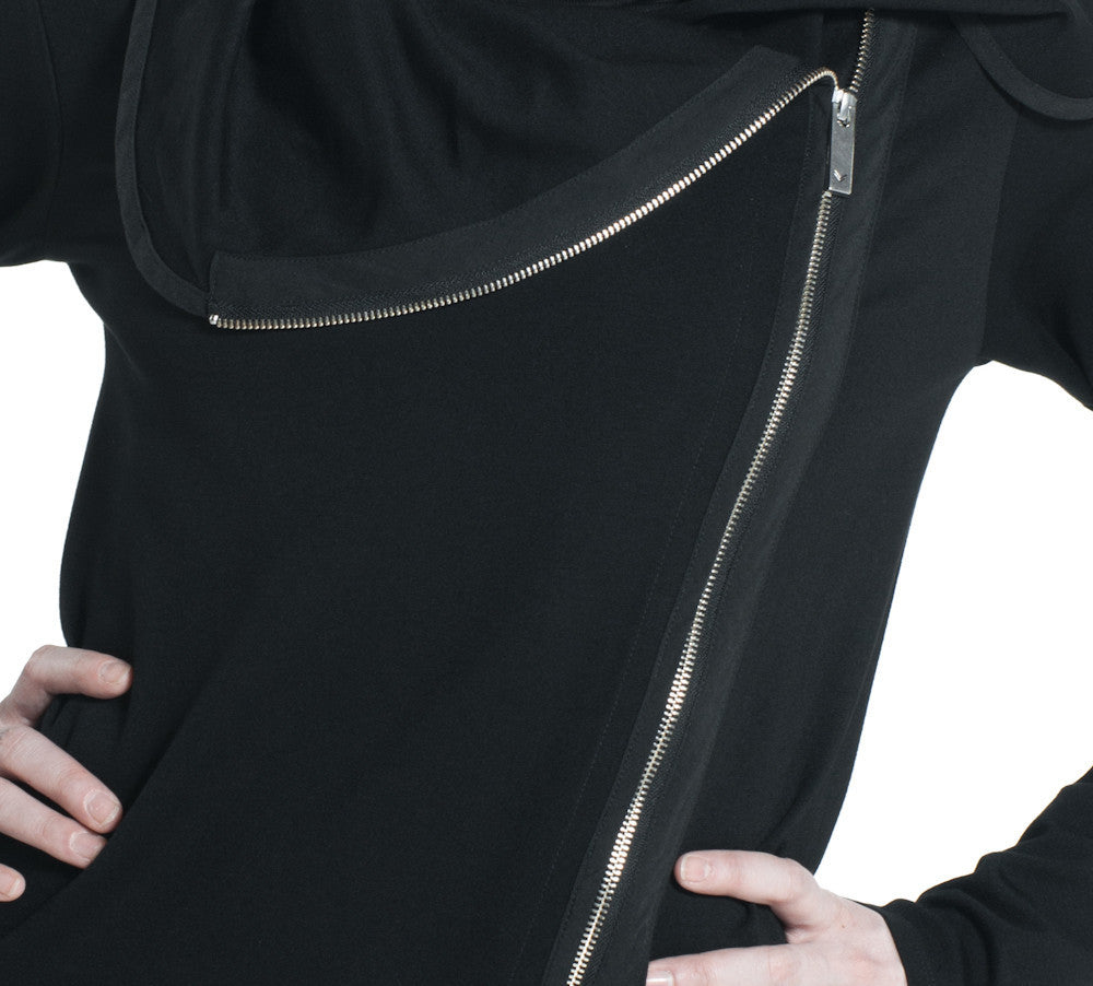 ASYMMETRICAL LONG SPRING JACKET IN BLACK