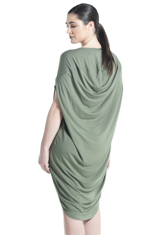 JERSEY DRAPE DRESS IN OLIVE